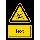 W003 - Nebezpečenstvo otravy, zadusenia - Zvislá nálepka s doplnkovým textom