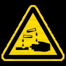 W004 - Nebezpečenstvo poleptania - Trojuholníková nálepka bez textu
