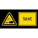 W004 - Nebezpečenstvo poleptania - Vodorovná nálepka s doplnkovým textom
