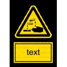 W004 - Nebezpečenstvo poleptania - Zvislá nálepka s doplnkovým textom