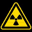 W005 - Nebezpečné rádioaktívne alebo ionizujúce žiarenie - Trojuholníková nálepka bez textu