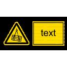 W006 - Nebezpečenstvo pádu alebo pohybu závesného predmetu - Vodorovná nálepka s doplnkovým textom