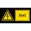 W008 - Nebezpečenstvo úrazu ekektrinou - Vodorovná nálepka s doplnkovým textom