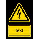 W008 - Nebezpečenstvo úrazu ekektrinou - Zvislá nálepka s doplnkovým textom