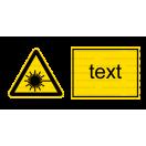 W010 - Nebezpečenstvo laserového lúča - Vodorovná nálepka s doplnkovým textom
