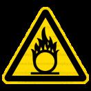 W011 - Nebezpečenstvo látky podporujúcej horenie - Trojuholníková nálepka bez textu
