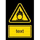 W011 - Nebezpečenstvo látky podporujúcej horenie - Zvislá nálepka s doplnkovým textom