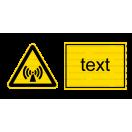 W012 - Nebezpečenstvo neionizujúceho žiarenia - Vodorovná nálepka s doplnkovým textom