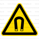 W013 - Nebezpečenstvo silného magnetického poľa - Trojuholníková nálepka bez textu