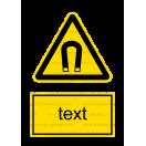 W013 - Nebezpečenstvo silného magnetického poľa - Zvislá nálepka s doplnkovým textom