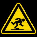 W014 - Nebezpečenstvo zakopnutia - Trojuholníková nálepka bez textu