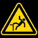 W015 - Nebezpečenstvo pádu - Trojuholníková nálepka bez textu