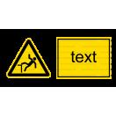 W015 - Nebezpečenstvo pádu - Vodorovná nálepka s doplnkovým textom