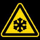 W017 - Nebezpečenstvo nízkej teploty - Trojuholníková nálepka bez textu