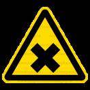W018 - Nebezpečenstvo škodlivých alebo dráždivých látok - Trojuholníková nálepka bez textu