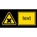 W018 - Nebezpečenstvo škodlivých alebo dráždivých látok - Vodorovná nálepka s doplnkovým textom