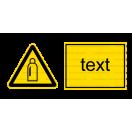 W019 - Nebezpečenstvo od tlakových nádob s plynom - Vodorovná nálepka s doplnkovým textom
