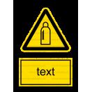 W019 - Nebezpečenstvo od tlakových nádob s plynom - Zvislá nálepka s doplnkovým textom