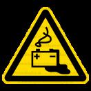 W020 - Nebezpečenstvo od akumulátorov - Trojuholníková nálepka bez textu