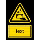 W020 - Nebezpečenstvo od akumulátorov - Zvislá nálepka s doplnkovým textom