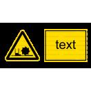 W022 - Nebezpečenstvo od frézy - Vodorovná nálepka s doplnkovým textom