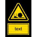 W022 - Nebezpečenstvo od frézy - Zvislá nálepka s doplnkovým textom