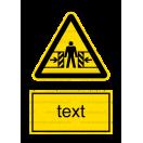 W023 - Nebezpečenstvo pomliaždenia - Zvislá nálepka s doplnkovým textom