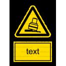 W024 - Nebezpečenstvo zosunutia alebo pádu valca - Zvislá nálepka s doplnkovým textom