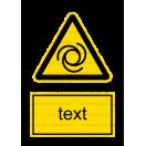 W025 - Nebezpečenstvo pri automatickom štarte - Zvislá nálepka s doplnkovým textom