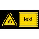 W026 - Nebezpečne horúca plocha - Vodorovná nálepka s doplnkovým textom
