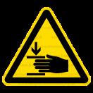 W027 - Nebezpečenstvo poranenia ruky - Trojuholníková nálepka bez textu