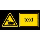 W027 - Nebezpečenstvo poranenia ruky - Vodorovná nálepka s doplnkovým textom