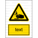 W027 - Nebezpečenstvo poranenia ruky - Zvislá nálepka s doplnkovým textom