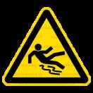 W028 - Nebezpečenstvo pošmyknutia - Trojuholníková nálepka bez textu