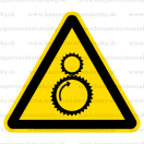 W029 - Nebezpečenstvo od chodu stroja - Trojuholníková nálepka bez textu