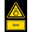 W029 - Nebezpečenstvo od chodu stroja - Zvislá nálepka s doplnkovým textom