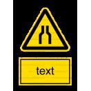 W030 - Pozor, zúžený priestor - Zvislá nálepka s doplnkovým textom