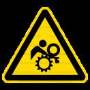 W032 - Nebezpečenstvo vtiahnutia - Trojuholníková nálepka bez textu