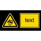 W032 - Nebezpečenstvo vtiahnutia - Vodorovná nálepka s doplnkovým textom