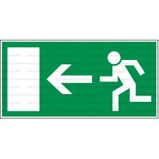 E001L - Úniková cesta, únikový východ (šipka vľavo) - Obdĺžniková záchranná nálepka bez textu