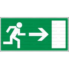 E001L - Úniková cesta, únikový východ (šipka vpravo) - Obdĺžniková záchranná nálepka bez textu