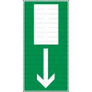 E002 - Úniková cesta, únikový východ (šipka dole) - Obdĺžniková záchranná nálepka bez textu