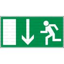 E003L - Úniková cesta, únikový východ (šipka dole) - Obdĺžniková záchranná nálepka bez textu