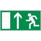 E003L - Úniková cesta, únikový východ (šipka hore) - Obdĺžniková záchranná nálepka bez textu
