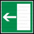 E004 - Úniková cesta, únikový východ (šipka doľava) - Štvorcová záchranná nálepka bez textu