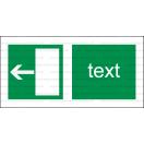 E004 - Úniková cesta, únikový východ (šipka doľava) - Vodorovná záchranná nálepka s doplnkovým textom