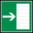 E004 - Úniková cesta, únikový východ (šipka doprava) - Štvorcová záchranná nálepka bez textu