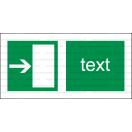 E004 - Úniková cesta, únikový východ (šipka doprava) - Vodorovná záchranná nálepka s doplnkovým textom
