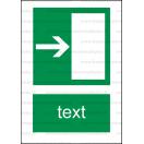 E004 - Úniková cesta, únikový východ (šipka doprava) - Zvislá záchranná nálepka s doplnkovým textom