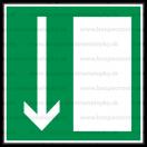 E005 - Úniková cesta, únikový východ (šipka dole) - Štvorcová záchranná nálepka bez textu